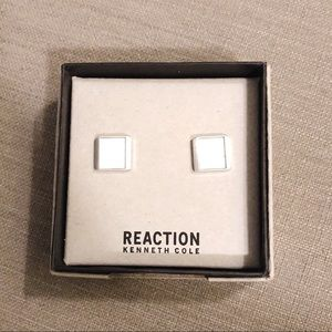 NEW KENNETH COLE REACTION BRUSHED CUFFLINKS SILVER